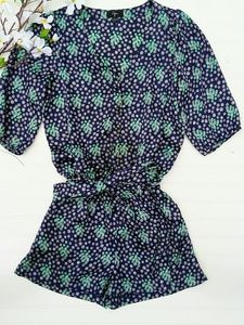 Aqua navy silky belted romper with 3/4 sleeves